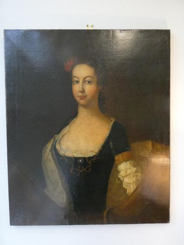 18th C Portrait of a Lady Oil on Canvas (1 of 7)