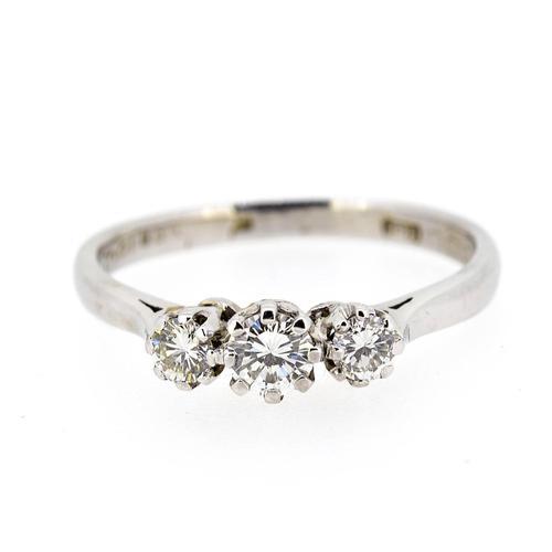 18ct White Gold Diamond Three Stone Ring (1 of 7)
