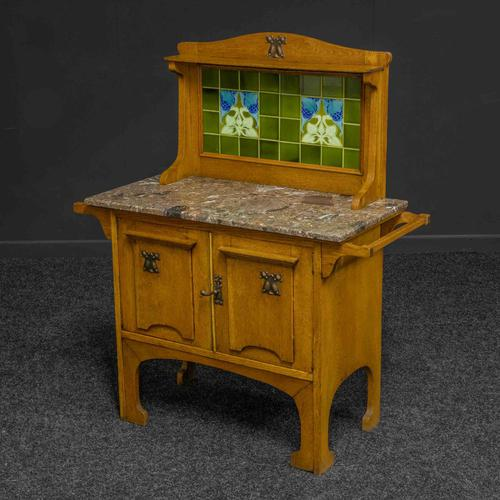 Arts & Crafts Oak Washstand with Marble Top (1 of 14)