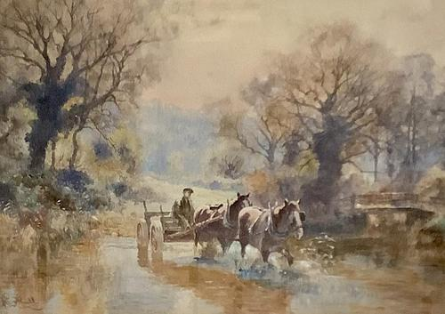 Ernest Pile Bucknall Watercolour' crossing the ford' (1 of 3)
