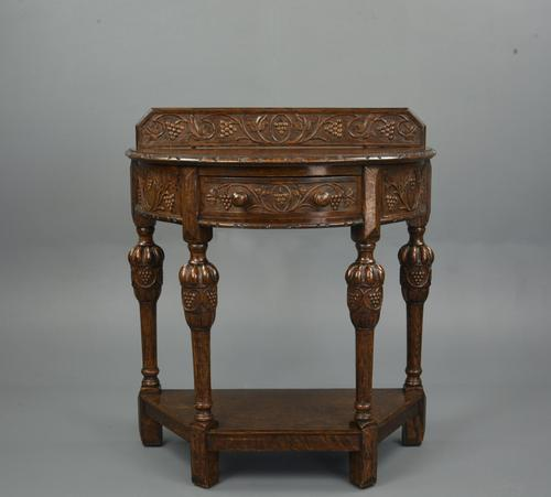 Demi Lune Carved Oak Hall Table (1 of 5)