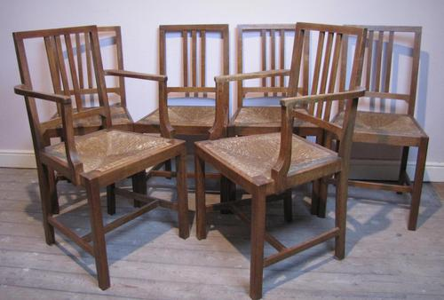Set of 6 Heals Oak Dining Chairs c.1930 (1 of 9)