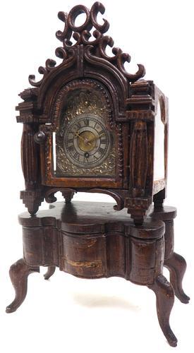 Unusual Rare 18th Century Austrian Verge Table Mantel Clock Pull Alarm (1 of 14)