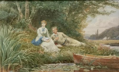 Ebenezer Wake Cook Watercolour - Summers Afternoon on the River (1 of 2)