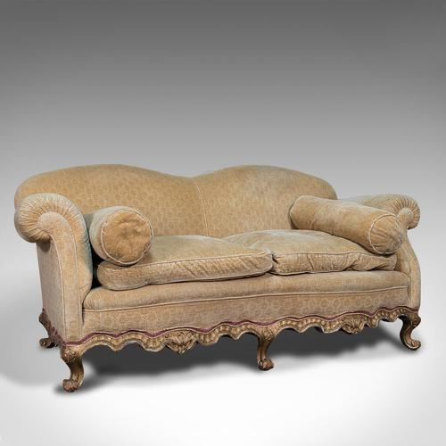 Antique 2 Seat Sofa, French, Textile, Beech, Settee, C.1900 (1 of 12)