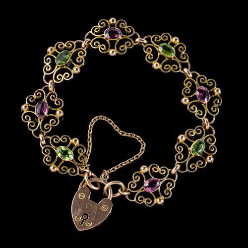 Antique Edwardian Padlock Bracelet 9ct Gold Garnet Peridot c.1902 Ernst Gideon Bek Boxed (1 of 8)