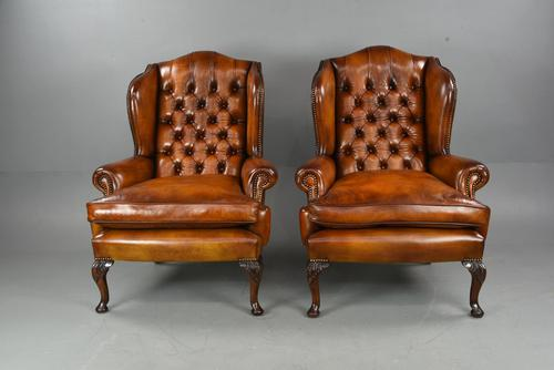 Antique Pair of Deep Buttoned  Leather Wing Chairs (1 of 7)
