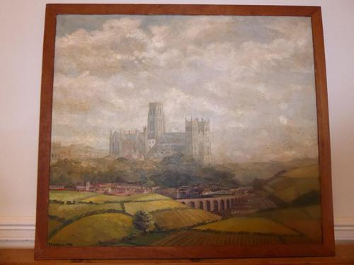 Oil Painting Train Passing Durham Cathedral (1 of 10)