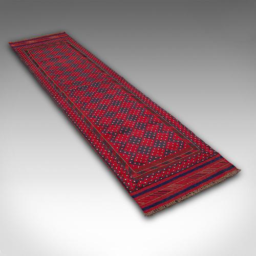 Long Antique Meshwari Runner, Persian, Wool, Kilim, Hallway, Carpet c.1900 (1 of 12)