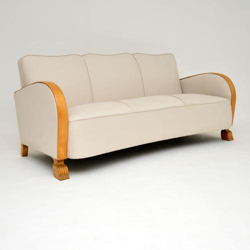 Swedish Art Deco Satin Birch Sofa (1 of 7)