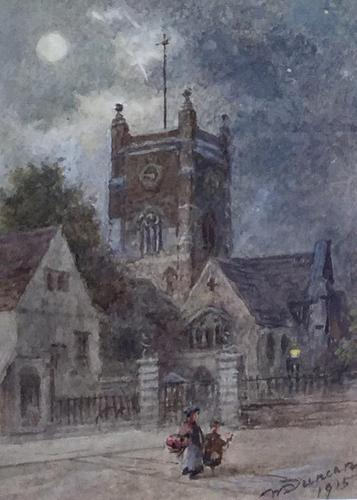 Walter Duncan Watercolour ' Walking Home in the Moonlight' (1 of 2)