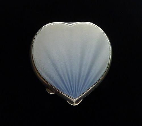 Blue Guilloche Enamel & Silver Powder Compact (1 of 10)