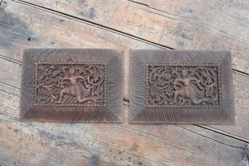 Pair of Early 20th Century Carved Wooden Asian Panels (1 of 10)