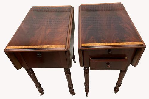 Pair of Superb Flame Mahogany Victorian Bedside Tables (1 of 8)