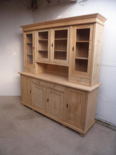Cracking 4 Door Antique Pine Large Glazed Kitchen Dresser to paint / wax (1 of 8)