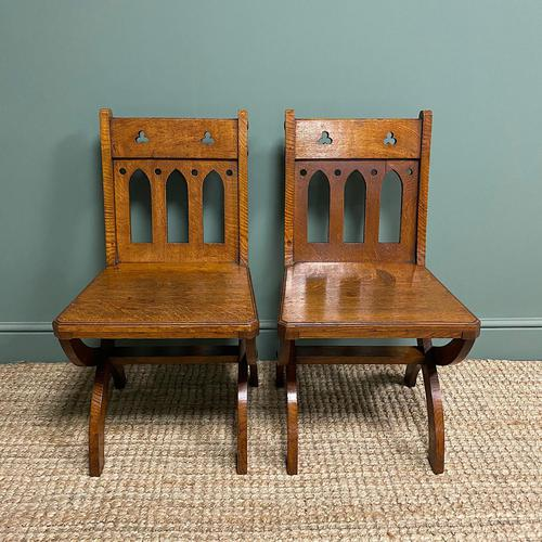 Quality Pair of Oak Hall Chairs by Shoolbred (1 of 7)