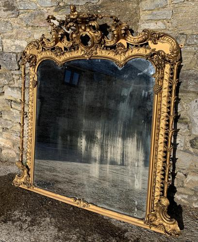 Large Victorian Gilt Overmantel Mirror (1 of 20)
