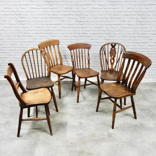 6 Assorted Windsor Kitchen Chairs (1 of 6)