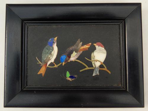 Antique Italian Pietra Dura Marble Panel Birds (1 of 5)