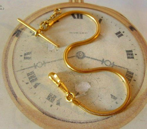 Vintage Pocket Watch Chain 1970s 12ct Gold Plated Snake Link Albert & T Bar (1 of 9)