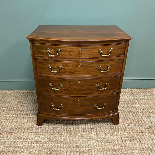 Small Quality Edwardian Mahogany Antique Bow Fronted Chest of Drawers (1 of 7)