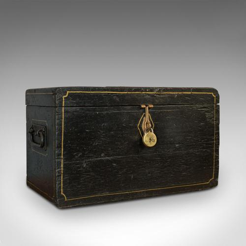 Antique Ebonised Carriage Chest, English, Pine, Tool Trunk, Victorian c 1850 (1 of 12)