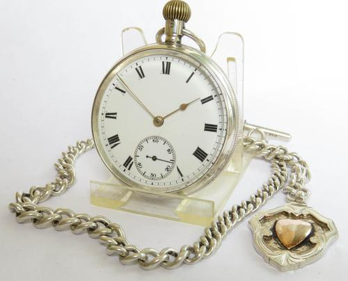 Antique Silver Waltham Pocket Watch & Chain (1 of 5)