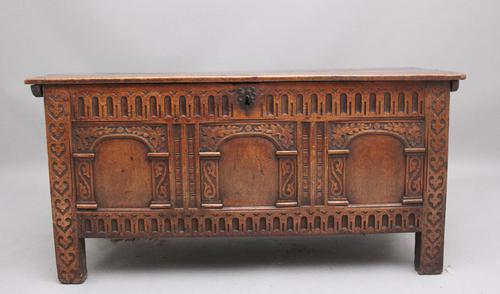 Early 18th Century Carved Oak Coffer with Three Panel Front (1 of 8)