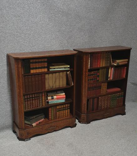 Pair of French Burr Walnut Open Bookcases (1 of 13)