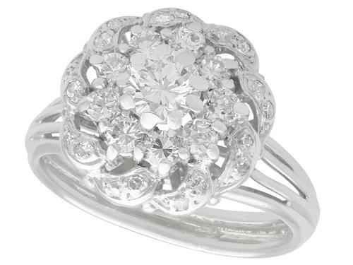 1.39ct Diamond & 18ct White Gold Cluster Ring - Vintage c.1950 (1 of 9)