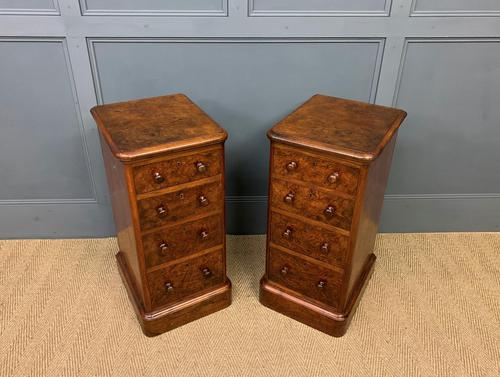 Victorian Pair of Burr Walnut Bedside Chests (1 of 14)