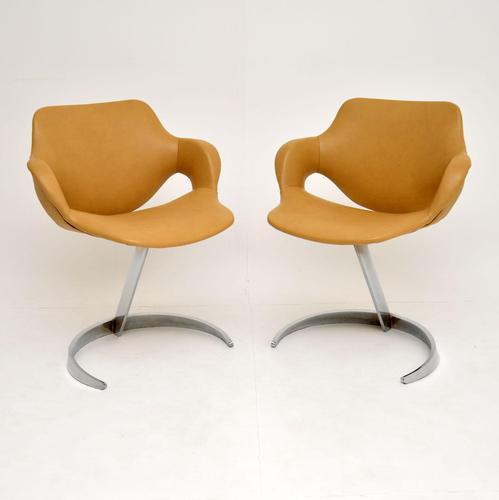 Pair of French Leather & Chrome Scimitar Chairs by Boris Tabacoff (1 of 13)