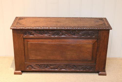 Solid Oak Carved Coffer (1 of 9)