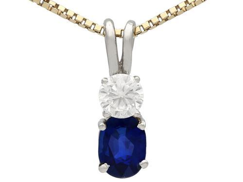 0.74ct Sapphire & 0.28ct Diamond, 18ct White Gold Pendant - Vintage c.1950 (1 of 9)