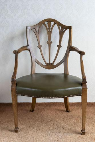 Sheraton Period Leather Covered Carver Chair (1 of 6)