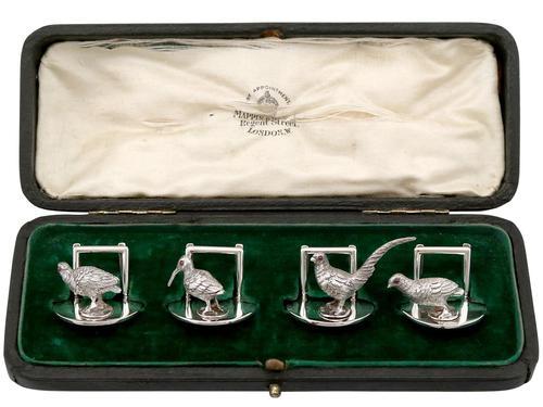 Sterling Silver Menu / Card Holders - Antique Edwardian 1907 (1 of 12)