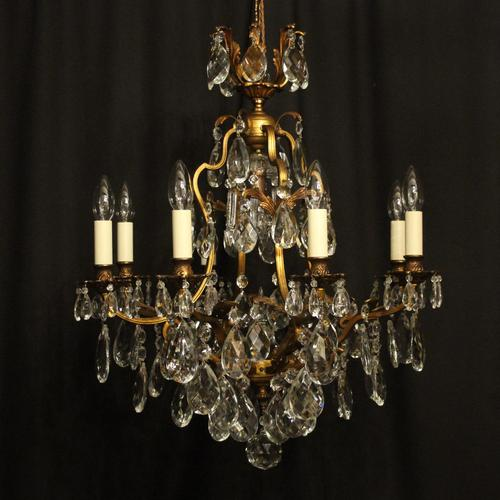 French Gilded Bronze & Crystal Chandelier (1 of 10)