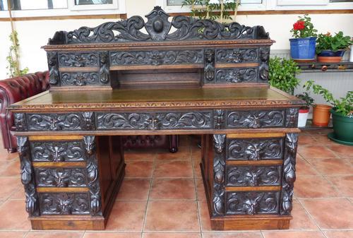 Country Oak Lions Head Pedestal Desk 1850 W M Richardson Ltd (1 of 12)