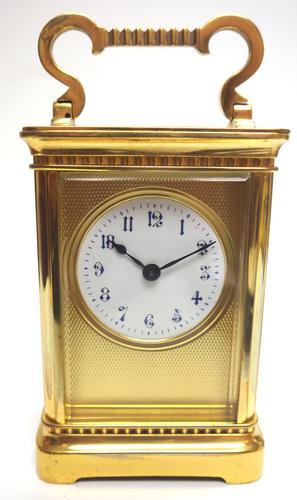 Rare Antique French 8-day Carriage Clock Unusual Masked Dial Case with Enamel Dial (1 of 10)