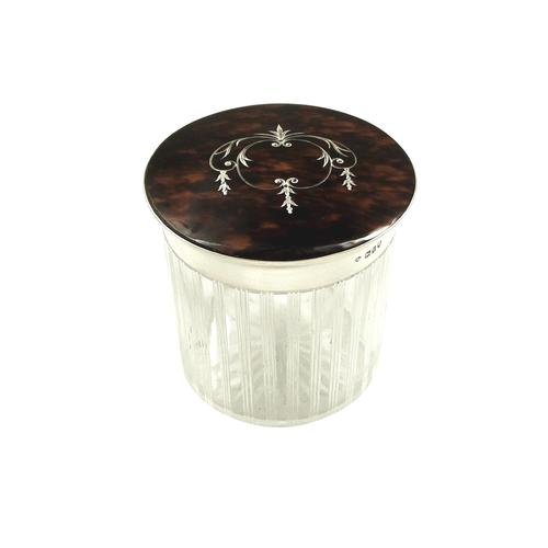 Antique Sterling Silver & Inlaid Tortoiseshell Vanity Jar 1914 (1 of 7)