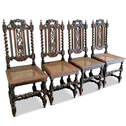 Set of 4 Victorian, Carolean Style Oak Dining Chairs (1 of 6)