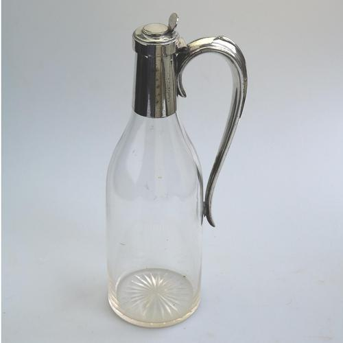 Unusual Novelty Silver Plate Claret / Cut Glass Wine Jug c.1900-1930 (1 of 5)