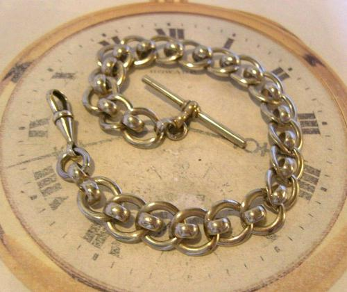 Antique Pocket Watch Chain 1920s Large Silver Nickel Fancy Link Albert With T Bar (1 of 10)