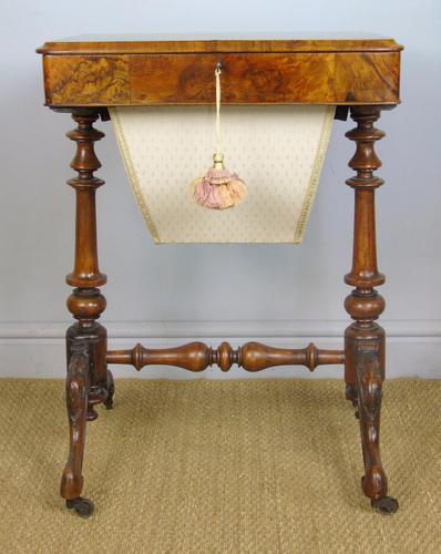 Beautiful Victorian Burr Walnut Sewing Table (1 of 8)