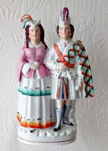 """Antique English Victorian Staffordshire Pottery Royal Portrait Figure ~ """"Princess Louise and the Marquess of Lorne"""" ~ P A223 ~ H 703 (1 of 5)"""