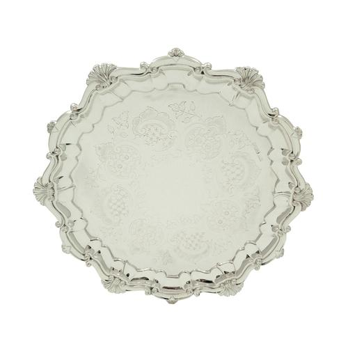 """Antique Edwardian Sterling Silver 10"""" Tray / Salver 1909 (1 of 9)"""