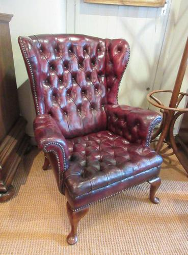 Antique Leather Chesterfield Wing Armchair (1 of 7)