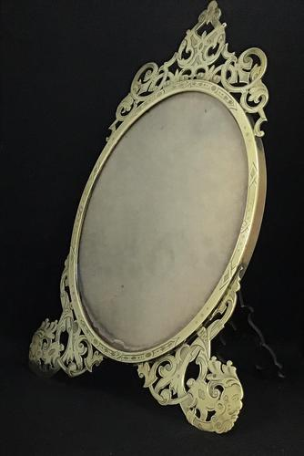 Aesthetic Movement Brass Oval Easel Photo Frame (1 of 5)