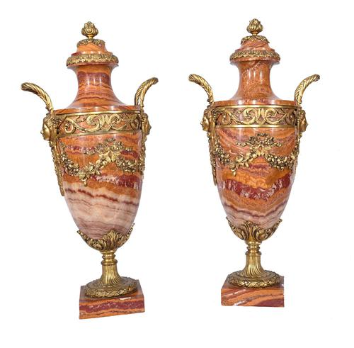 Pair of French Marble Urns Amphora Cassoulets Empire 1890 (1 of 16)
