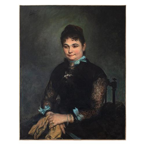 Edgar Boutry, Portrait Of A Lady With Blue Ribbons, Oil Painting (1 of 7)